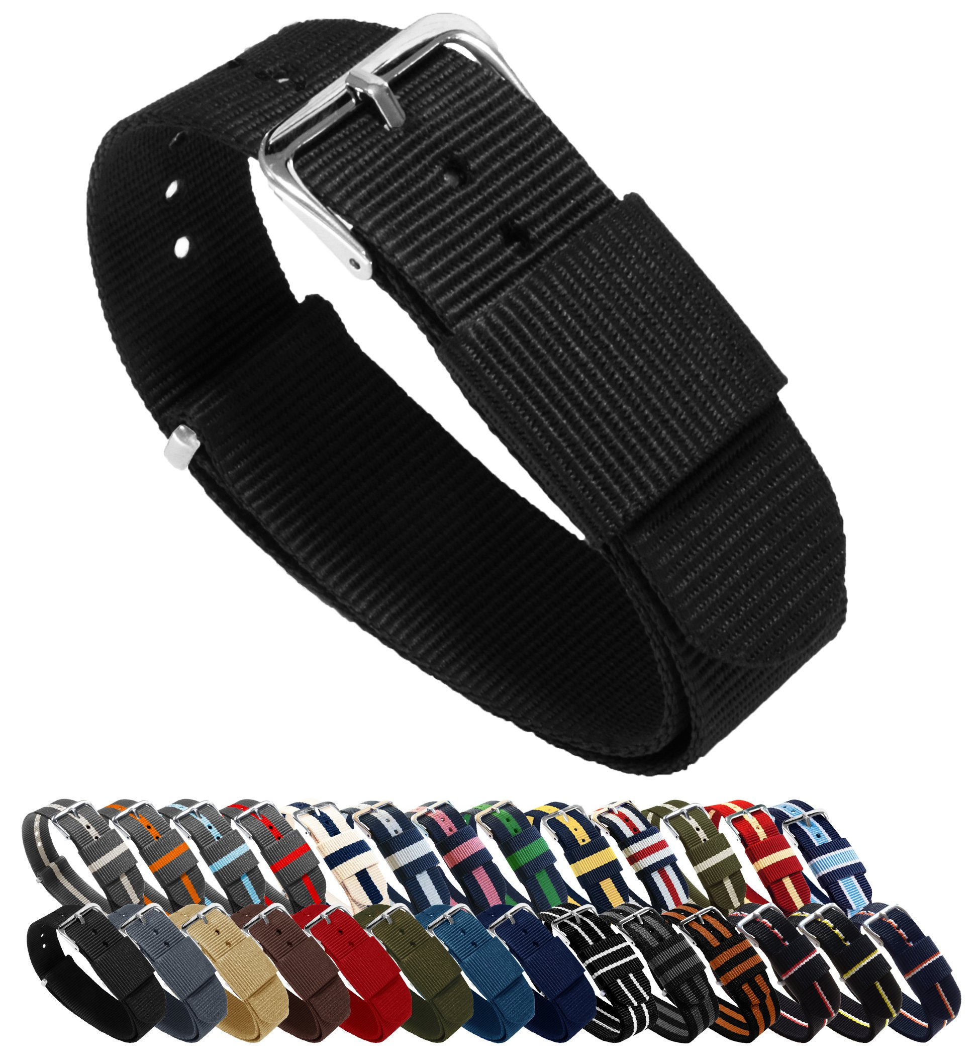 BARTON Watch Bands - Choice of Color, Length & Width (18mm, 20mm, 22mm or 24mm) - Black 18mm - Standard Length by Barton Watch Bands