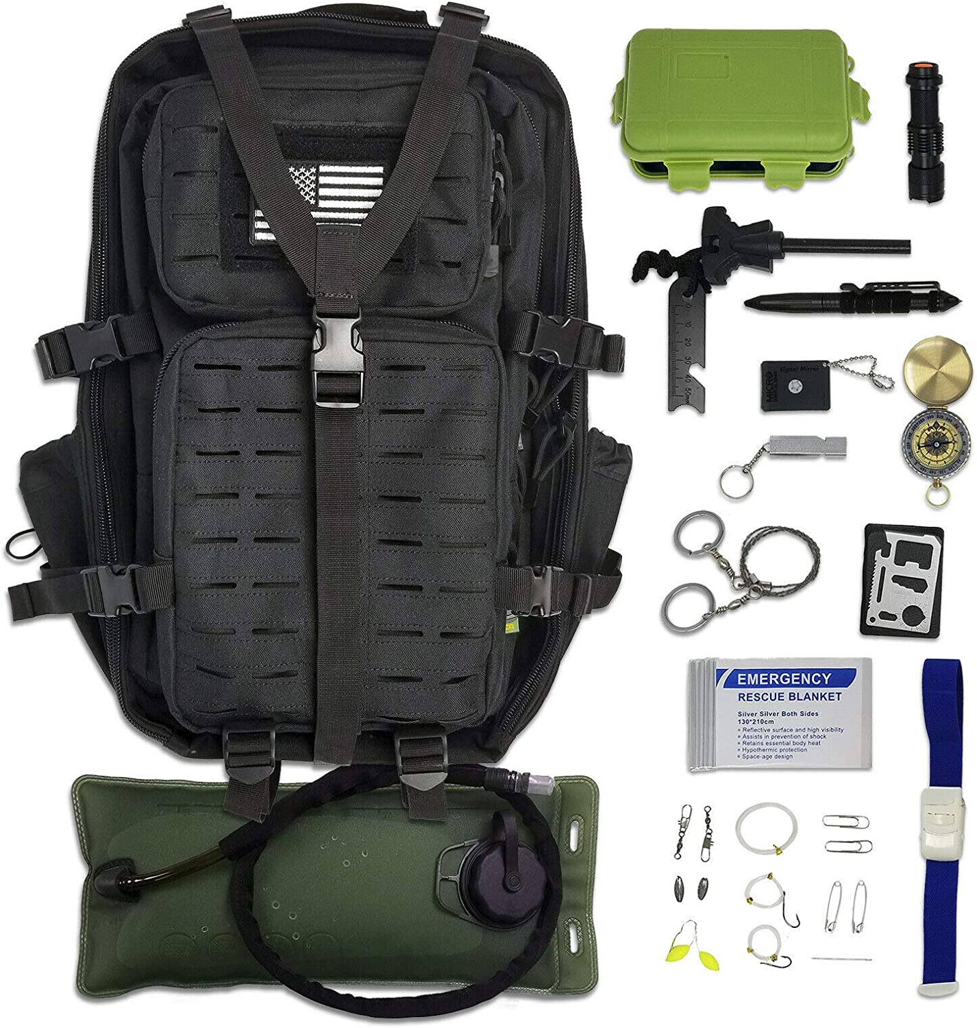 Amazon.com: WWX Survival Backpack Kit with Survival Gear & Emergency Tools  (29pc Set): Sports & Outdoors