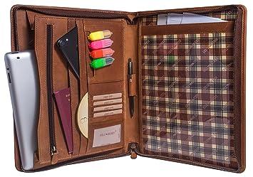 f16737b8ce21be Hill Burry Étui en cuir A4 document Conférencier | Portfolio en cuir  véritable Vintage de qualité - Organiseur Porte-documents | travail Porte  ...