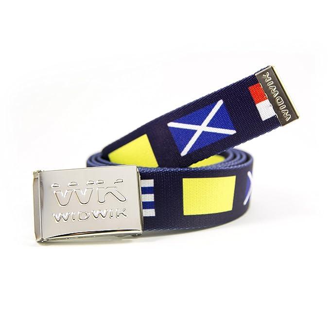 WK WIDWIK Cinturón Náutico azul con las banderas náuticas - cinto marinero marca Widwik