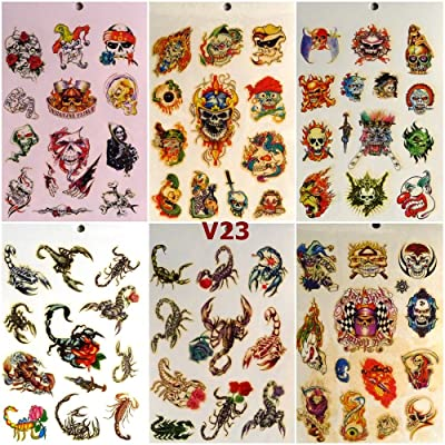 V23 - 280 TATTOOS Special Design 6 sheets Temporary Tattoos Body art Sticker- SKULL, Scorpion: Toys & Games