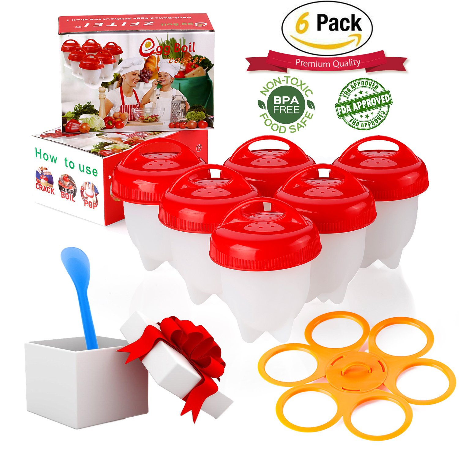 ZFITEI Upgrade Version Egg Cooker holder and Egg Cooker 6pack,Pls watch Real test video, Boiled Eggs No shell,hard&Soft Maker,BPA Free,Non Stick Silicone,Apply to Poacher, Boiled, Steamer,by