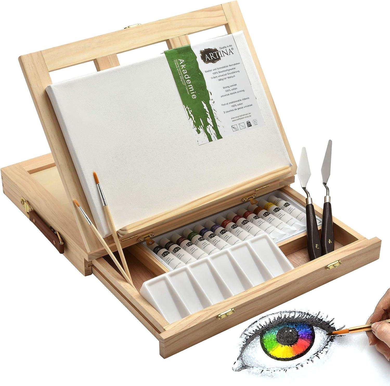 Artina Set de Pintura Milano Caballete de Mesa y Kit de Pintura de 19 Piezas con Colores acrílicos extraordinario