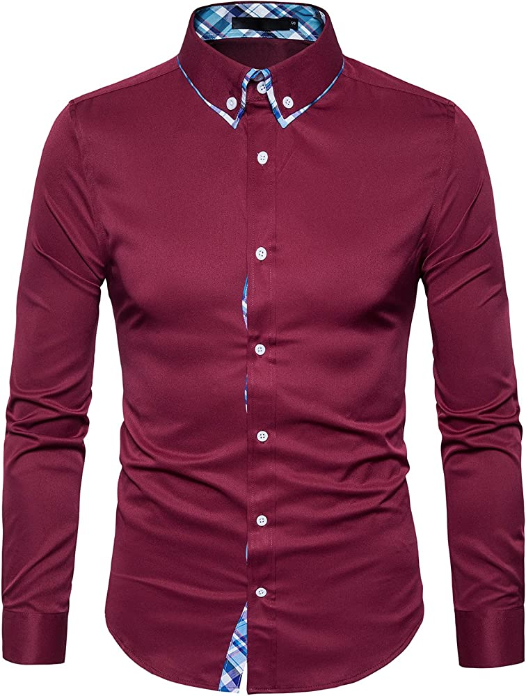 TONLEN Hombres Camisas Casual Camisa de Vestir Hombre Camisas ...