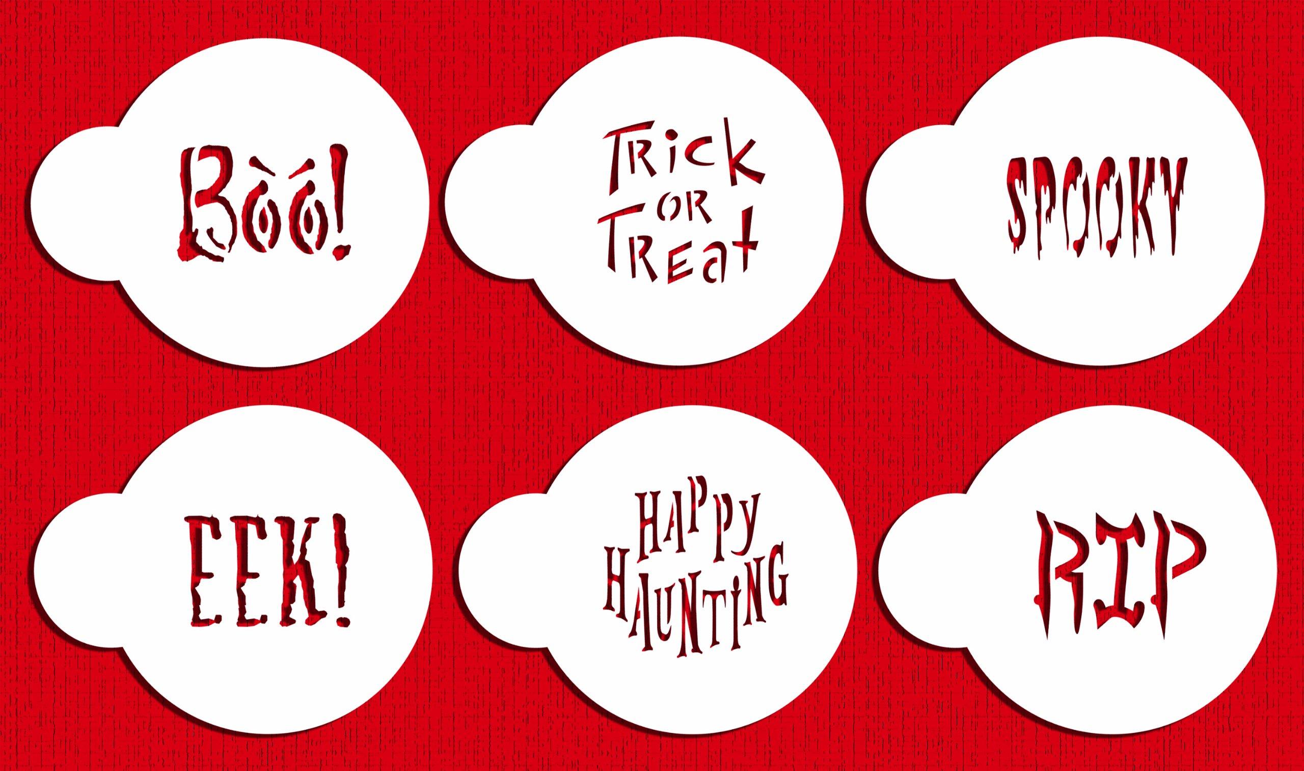 Designer Stencils C574 Small Halloween Cookie Stencil Sayings, Beige/semi-transparent
