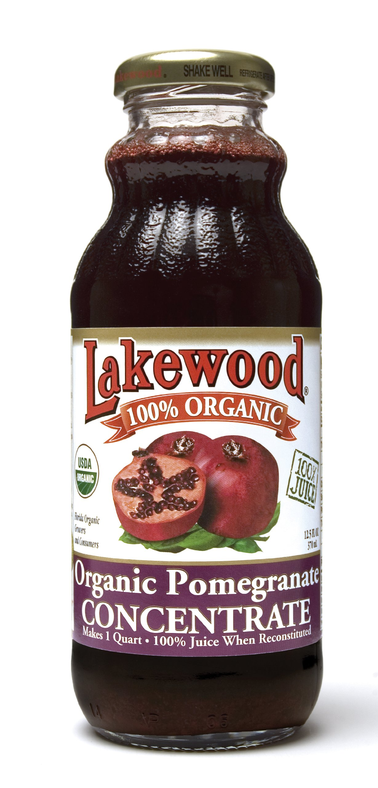 Lakewood Organic Pomegranate Concentrate Juice, 12.5-Ounce Bottles (Pack of 12)