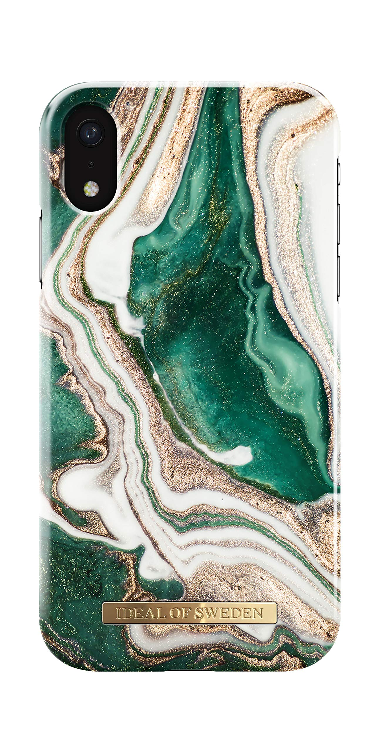 iDeal of Sweden Mobile Phone Case for iPhone XR (Microfiber Lining, Qi Wireless Charger Compatible) (Golden Jade Marble)