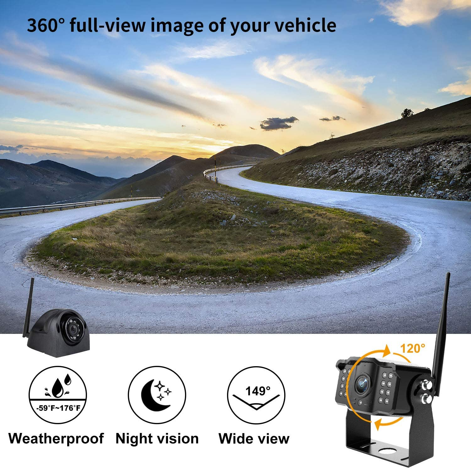 """Wireless Backup Camera Kit 7/"""" Monitor W//Upgraded Recorder Backing Up for RV Trailer Truck Camper Bus Digital HD 1080P Waterproof Front Rear Side View Camera Extra Stable Signal DVR System Xroose TW4"""