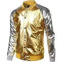 d077f4206e43 JOGAL Mens Metallic Nightclub Styles Button Down Varsity Baseball Bomber  Jacket