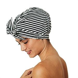 Kitsch Luxury Shower Cap for Women - Waterproof, Reusable Shower Caps (Black and White Stripe)