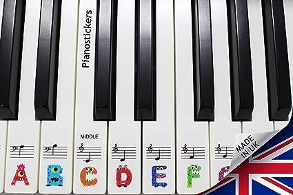 Autocollants pour clavier ou piano - Pour apprendre aux enfants à jouer de manière amusante - Jusqu'à 61 touches - Psmw61