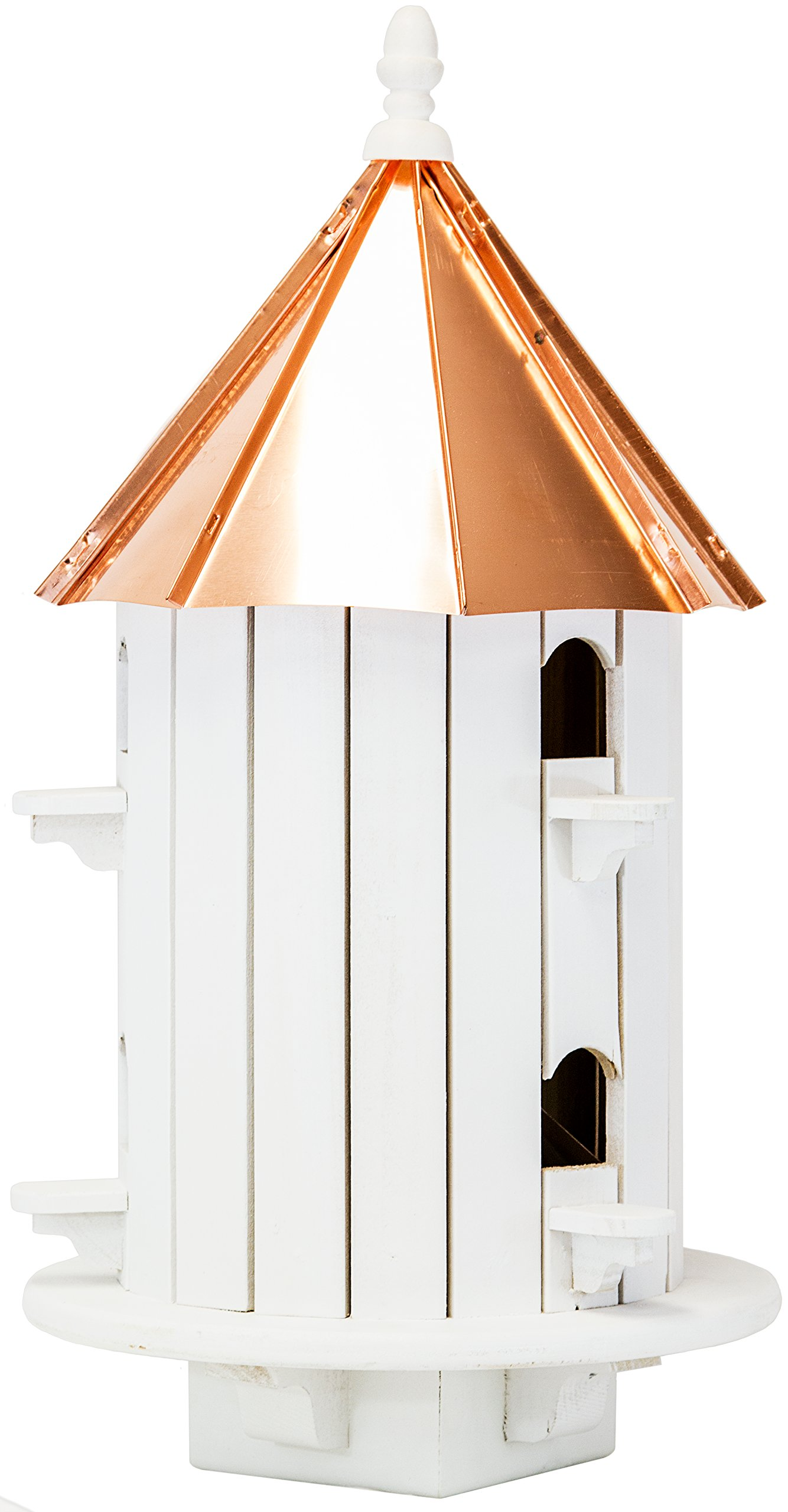 Amish 24ʺ Copper Top 6-Hole Birdhouse, Handcrafted in the USA