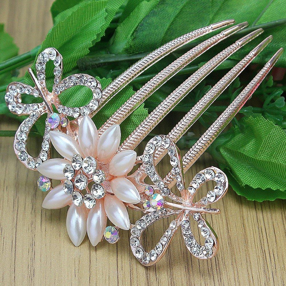 Ecloud Shop Mujeres Prom Pink Crystal Rhinestone flor de la perla del peine del pelo S9077