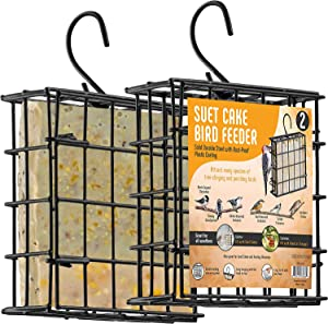 Suet Bird Feeders for Outside [2] Suet Wild Bird Feeders Use with Wild Bird Feeding Suet Cakes, Seed Cakes, Mealworm Cakes - Suet Feeder Cage, Suet Feeder for Outside Hanging, Suet Cage Bird Feeder