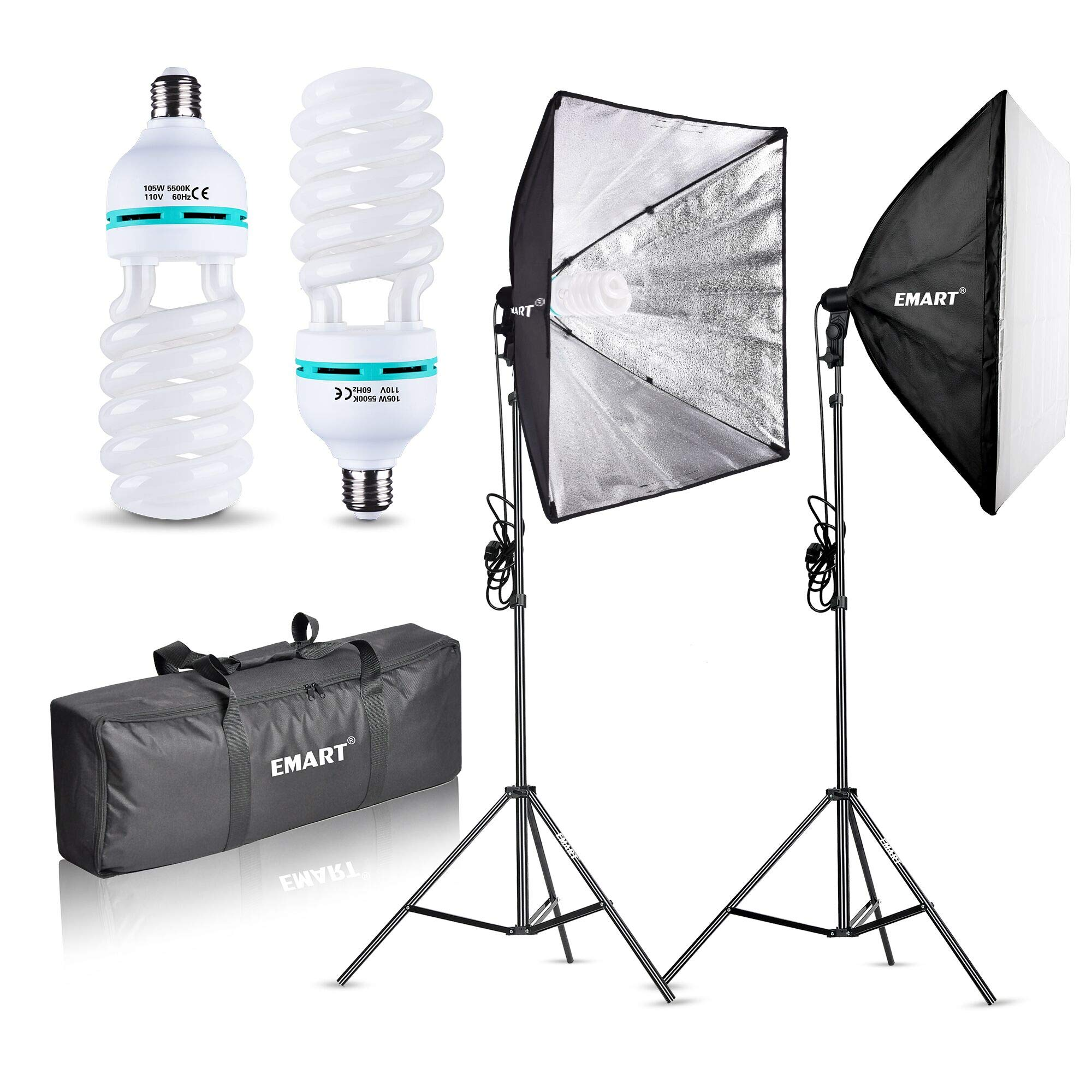 Emart 1000W Softbox Lighting Kit Photography Continuous Photo Studio Light System for YouTube Video Shooting Soft Box 24'' x 24'' by EMART
