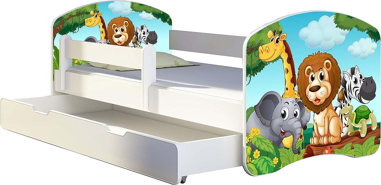 02 Animaletti, 140x70 Letto per bambino Cameretta per bambino con materasso Cassetto ACMA I