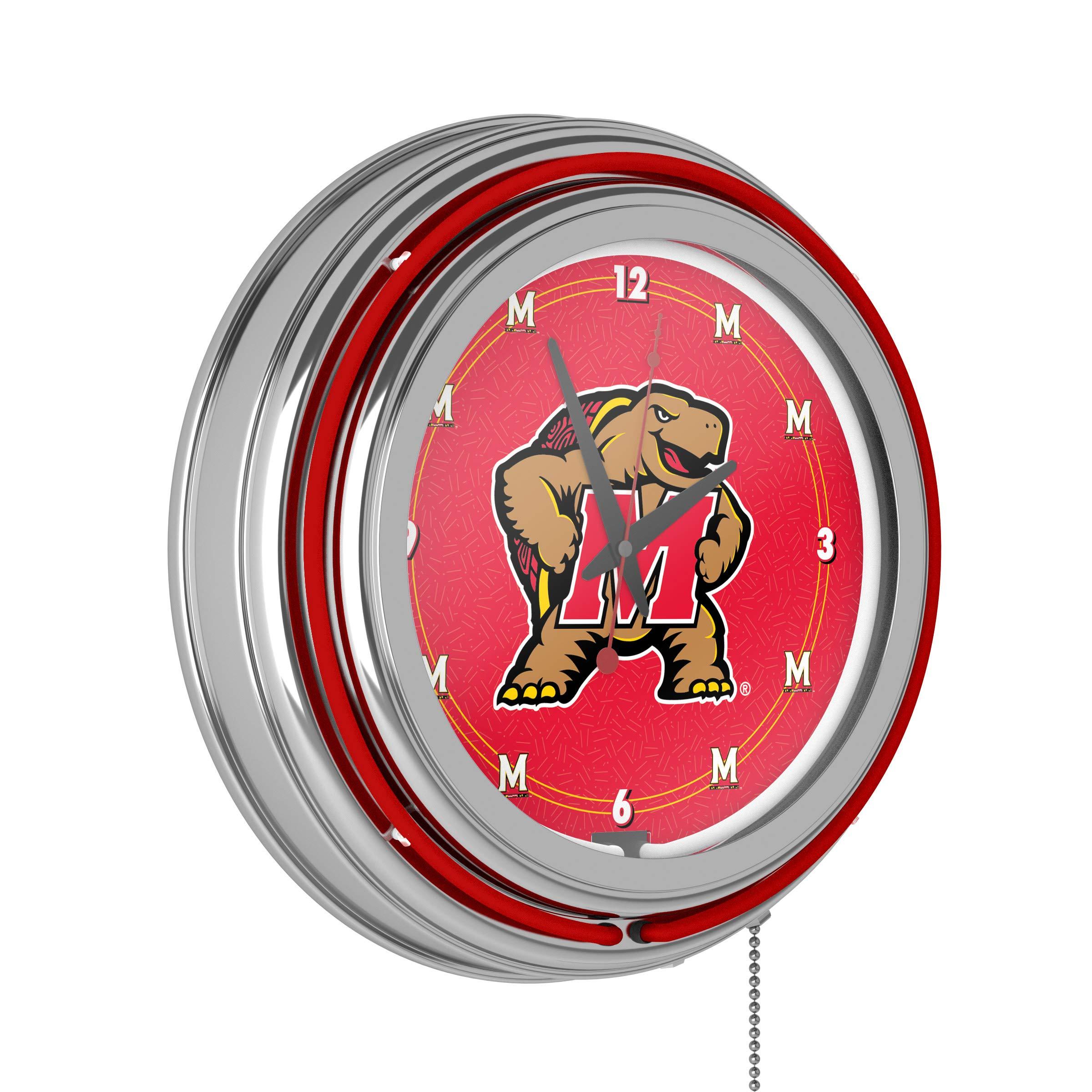 Maryland University Chrome Double Rung Neon Clock by Trademark Gameroom