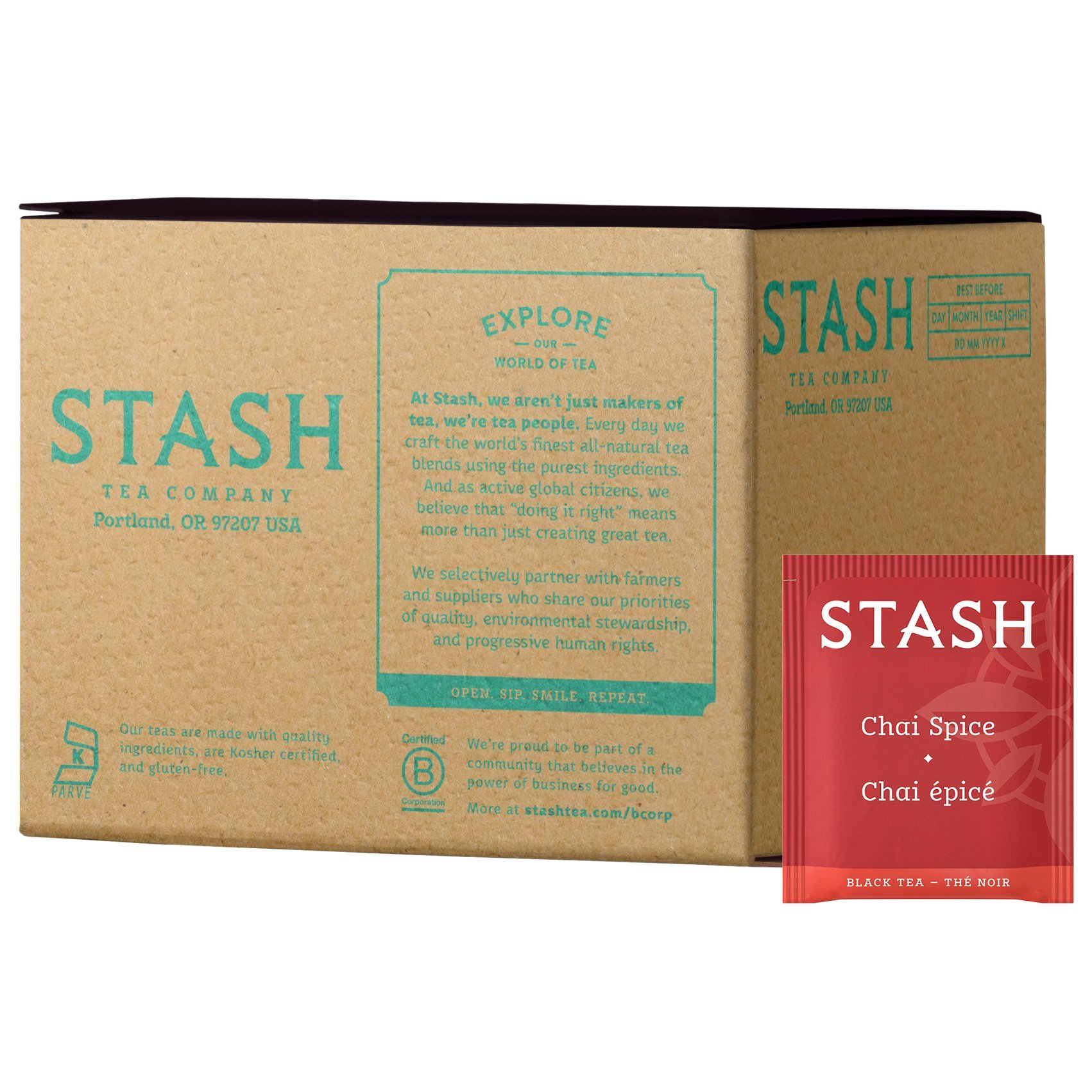 Stash Tea Chai Spice Black Tea, 100 Count Box of Tea Bags in Foil (packaging may vary)