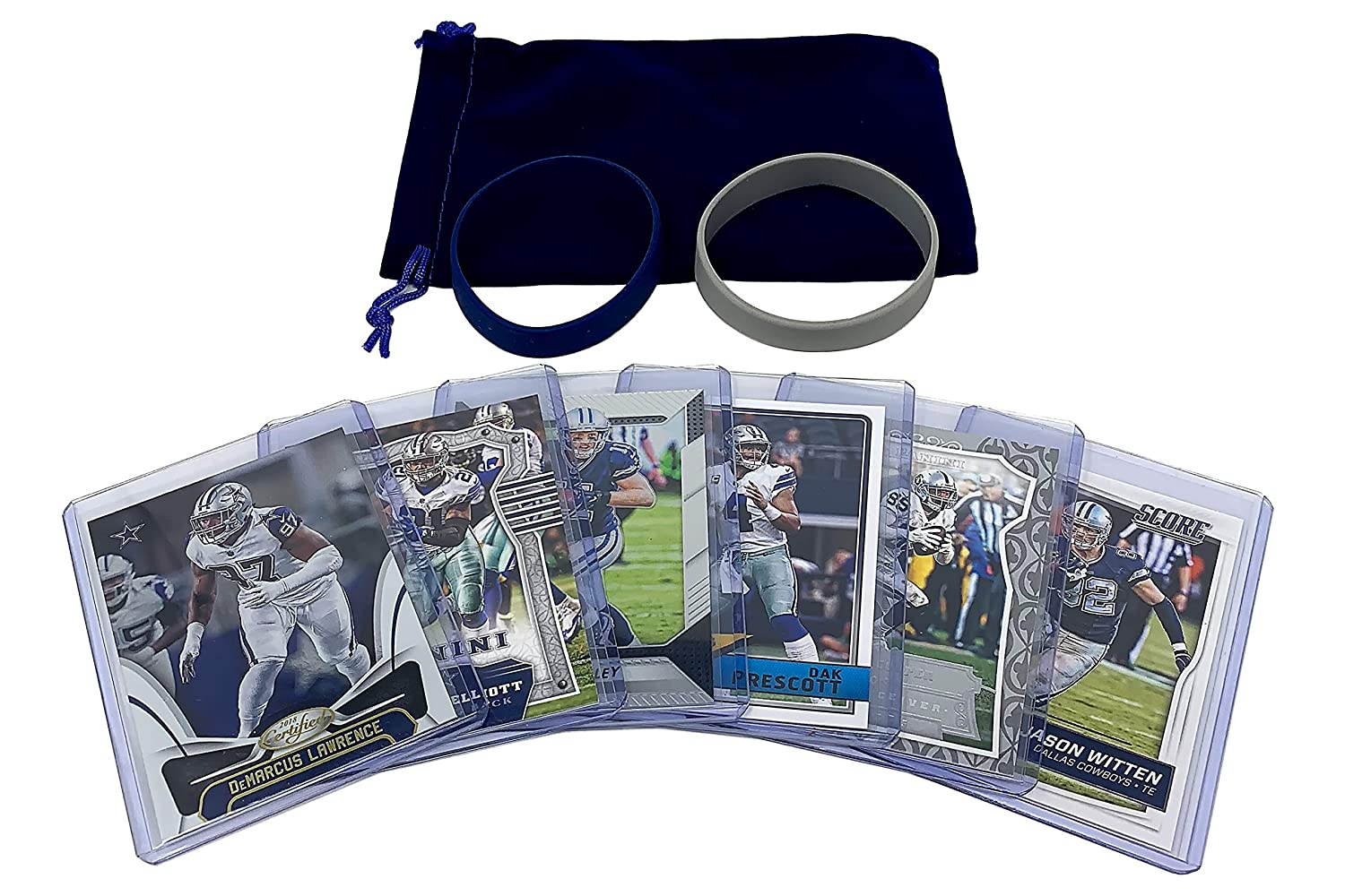 Dallas Cowboys Cards: Dak Prescott, Ezekiel Elliott, Cole Beasley, Demarcus Lawrence, Jason Witten, Amari Cooper ASSORTED Football Trading Card and Wristbands Bundle Panini Bowman Topps