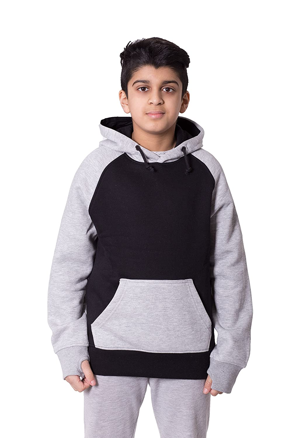 Boys Kids Contrast Colour Hoodie Sweatshirt Black) A1074-4