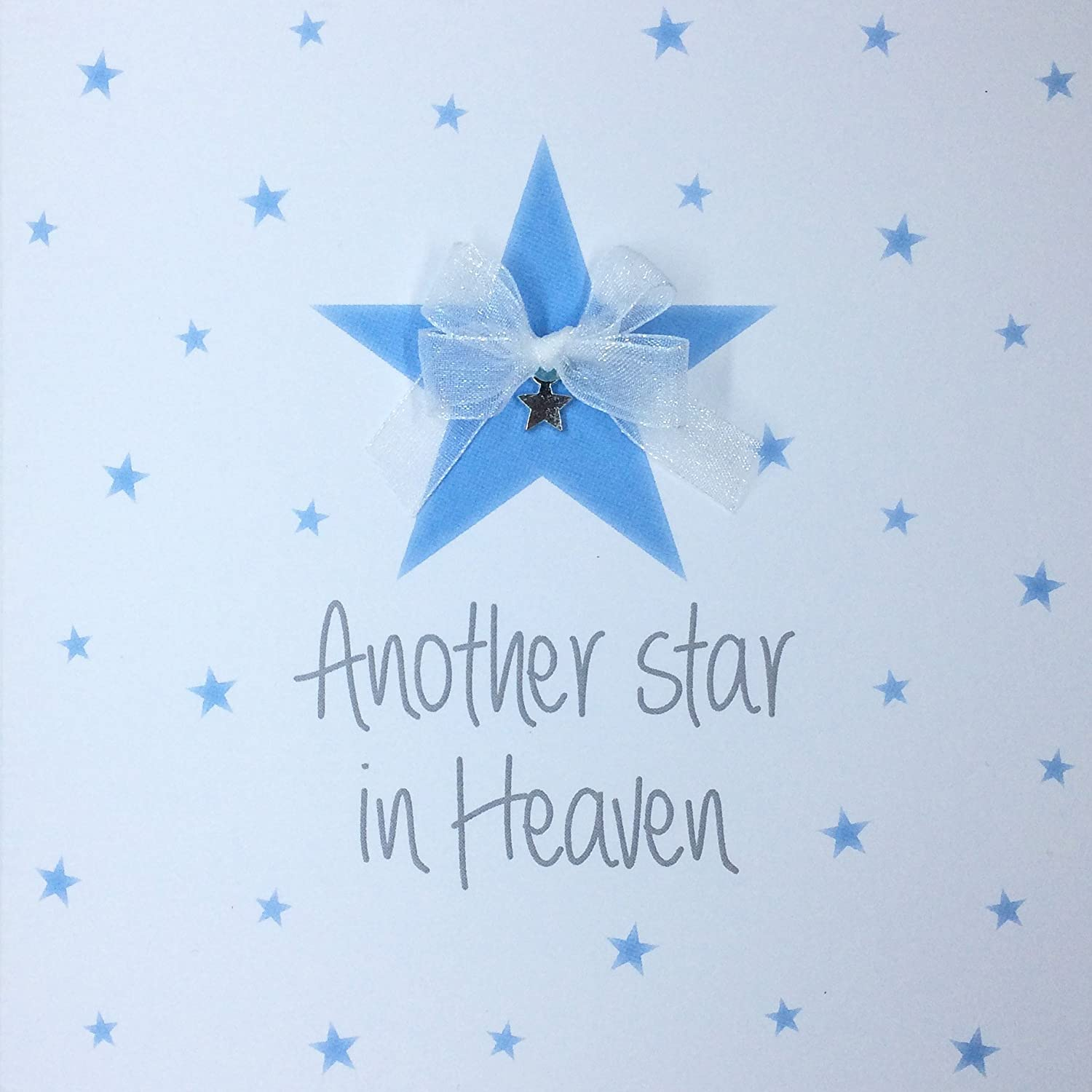'Another Star in Heaven' Sympathy, Condolences Card for Loss of Child, Son, Baby boy, miscarriage, stillbirth. Hand Finished with a Silvery Star and an Organza Bow PUSHING THE ENVELOPE