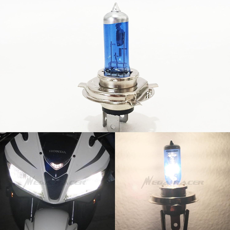 Mega Racer 1Pc H4 9003 HB2 100/90 Watt White 5000K Xenon Halogen Headlight Lamp Light Bulb (High/Low Beam) Hi/Lo Motorcycle Bike US