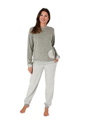 reputable site 55506 f6744 NORMANN WÄSCHEFABRIK Damen Frottee Pyjama mit Bündchen Sterne Tupfendesign  - auch in Übergrössen bis 60/62