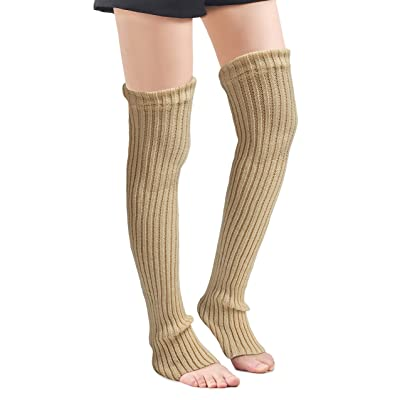 Leotruny Women's Winter Over Knee High Footless Socks Knit Leg Warmers (Beige): Clothing