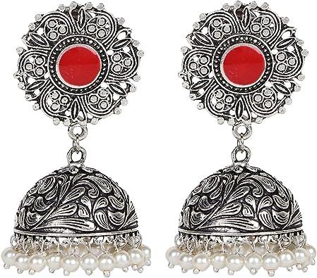 Sansar India Meenakari Kundan Indian Earrings Jewelry for Girls and Women