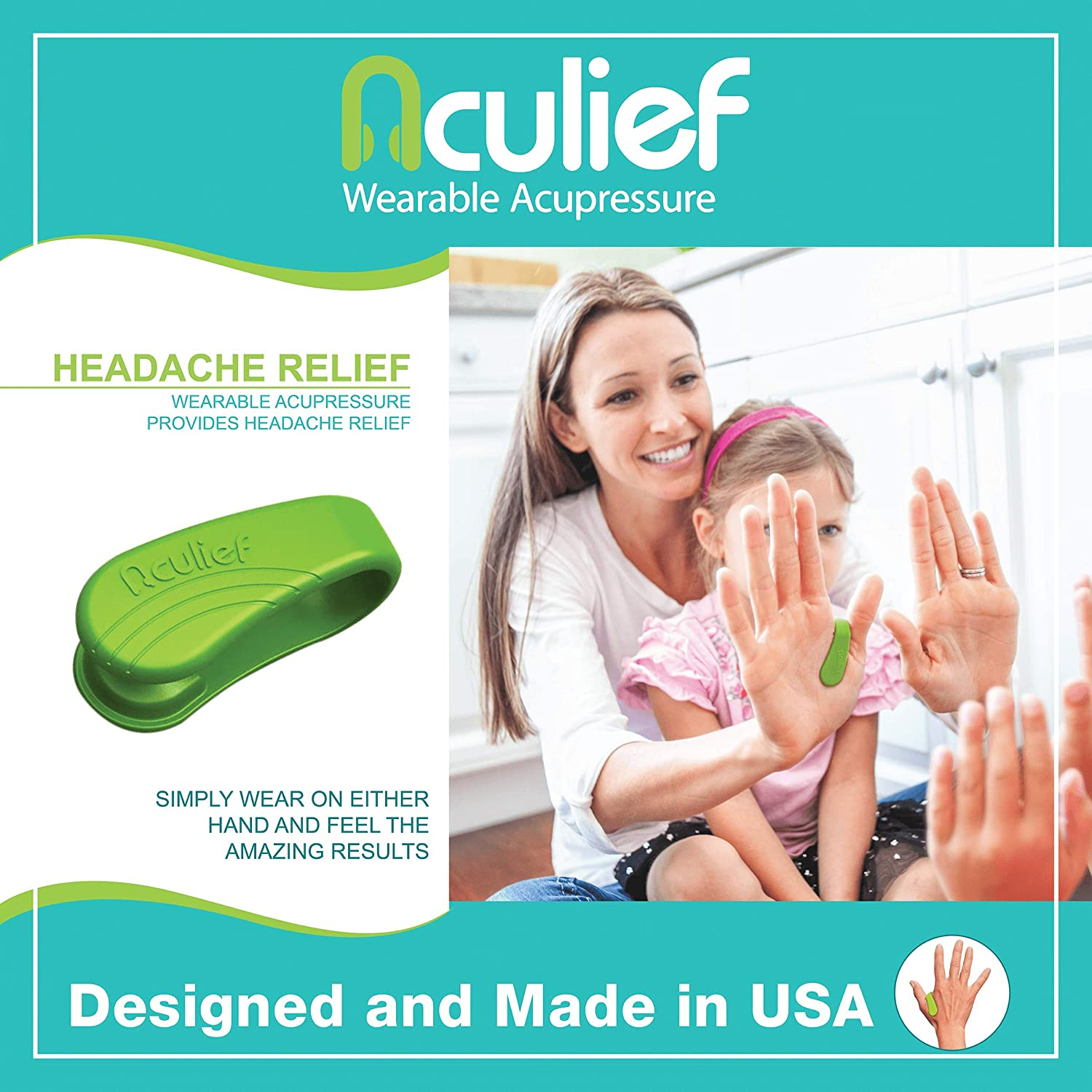 Aculief - Award Winning Natural Headache, Migraine, Tension Relief Wearable – Supporting Acupressure Relaxation, Stress Alleviation, Soothing Muscle Pain - Simple, Easy, Effective 2 Pack - (Green): Health & Personal Care