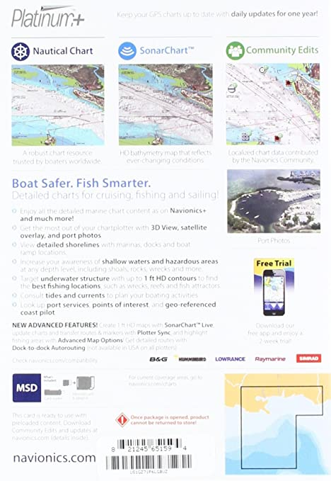 Navionics Platinum+ SD 651 - Tarjeta náutica del Golfo Central de México en Tarjeta SD/Micro-SD: Amazon.es: Electrónica