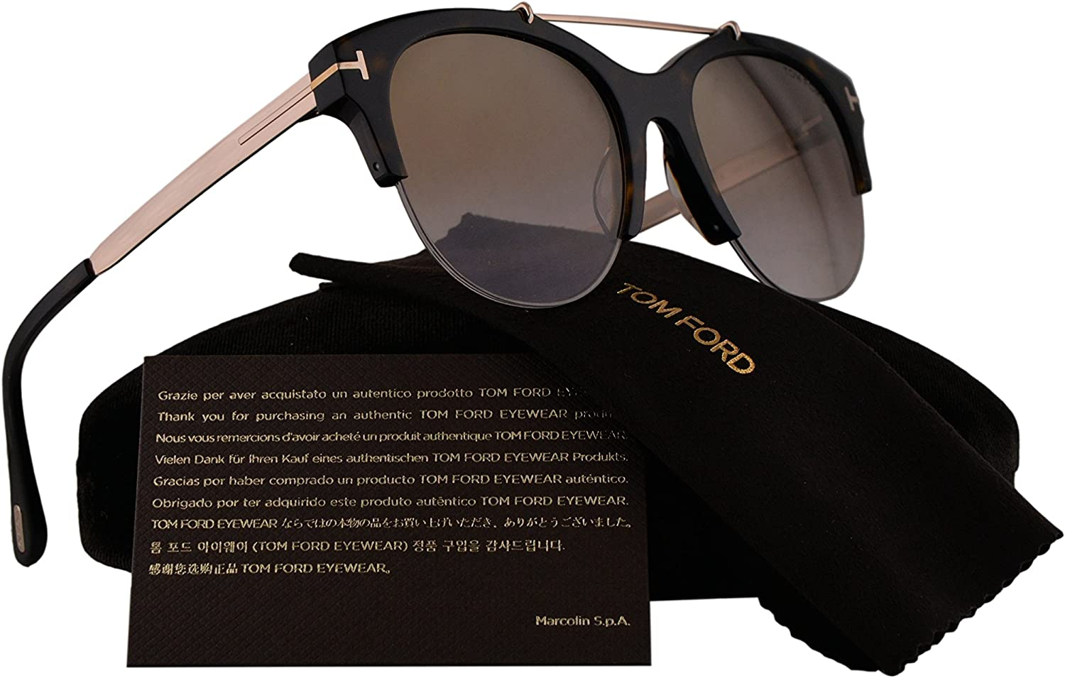 Tom Ford Adrenne TF517 517 Sunglasses Black Gold 01A Authentic 55mm