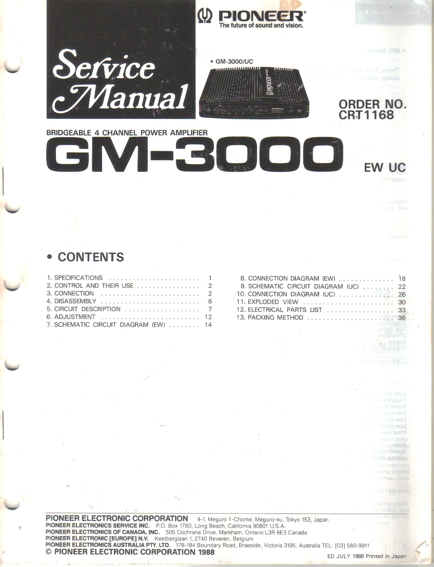 Pioneer Gm 3000 Bridgeable 4 Channel Power Amplifier Service Manual Spa Cover Diagram Free Download Wiring Diagrams Pictures Parts List Schematic Electronic Corp Not Stated