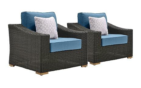 La Z Boy Outdoor New Boston Resin Wicker Patio Furniture Lounge Chairs (2