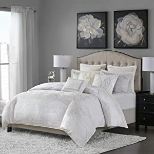 MADISON PARK SIGNATURE Hollywood Glam Luxurious Jacquard Oversized and Overfilled Comforter Set for Bedroom, King Size, White