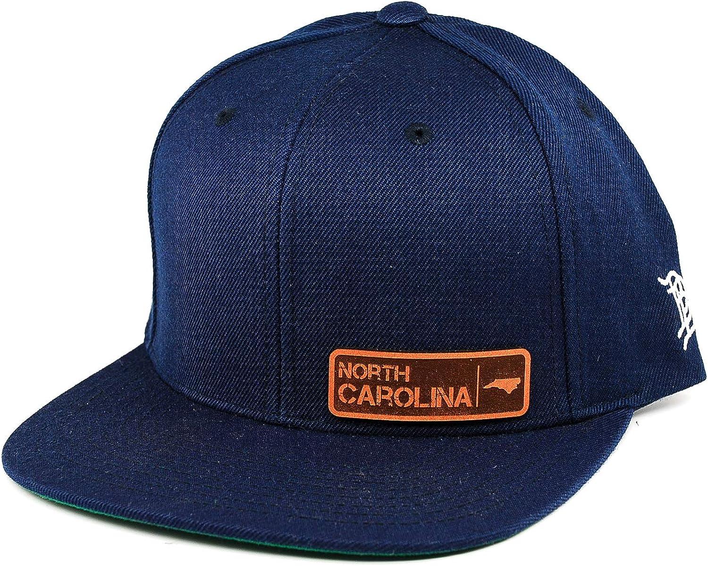 Branded Bills /'North Carolina Native Leather Patch Snapback Hat OSFA//Navy