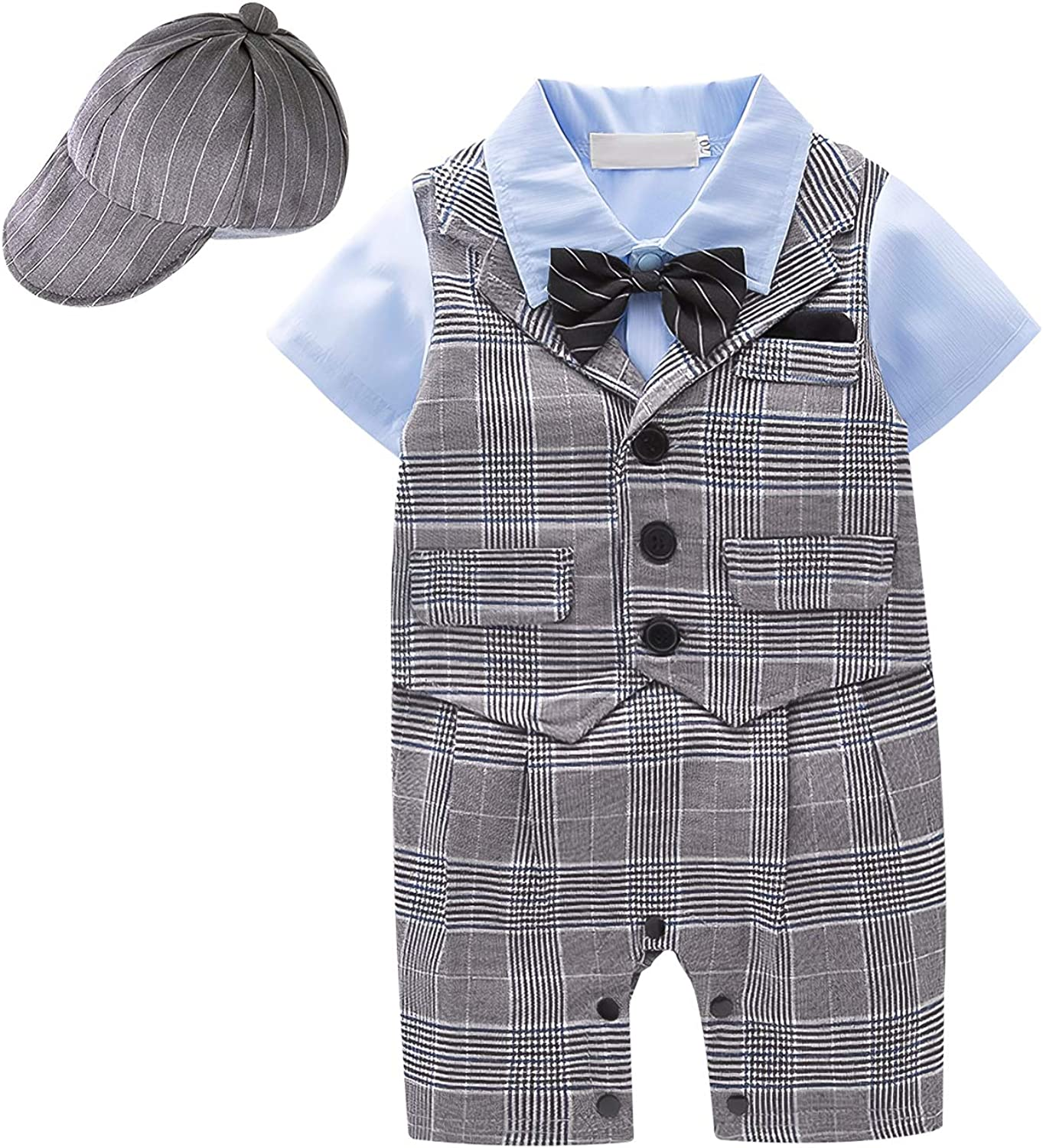 Summer Baby Boy Short Set 3pcs Short Sleeves Gentleman Jumpsuit+ Bowtie+ Hat Baby Boy Outfits Suit Set