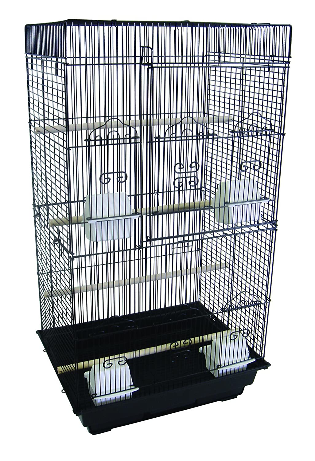 YML A6824 3/8-Inch Bar Spacing Tall Flat Top Small Bird Cage, 18-Inch by 14-Inch, White A6824WHT