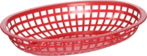 Winco Oval Fast Food Baskets, 10.25-Inch by 6.75-Inch by 2-Inch, Red