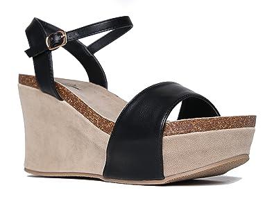 5506a6f0d72c J. Adams Comfortable Ankle Strap Platform Wedge Casual Open Toe Heel Sandal  Zella