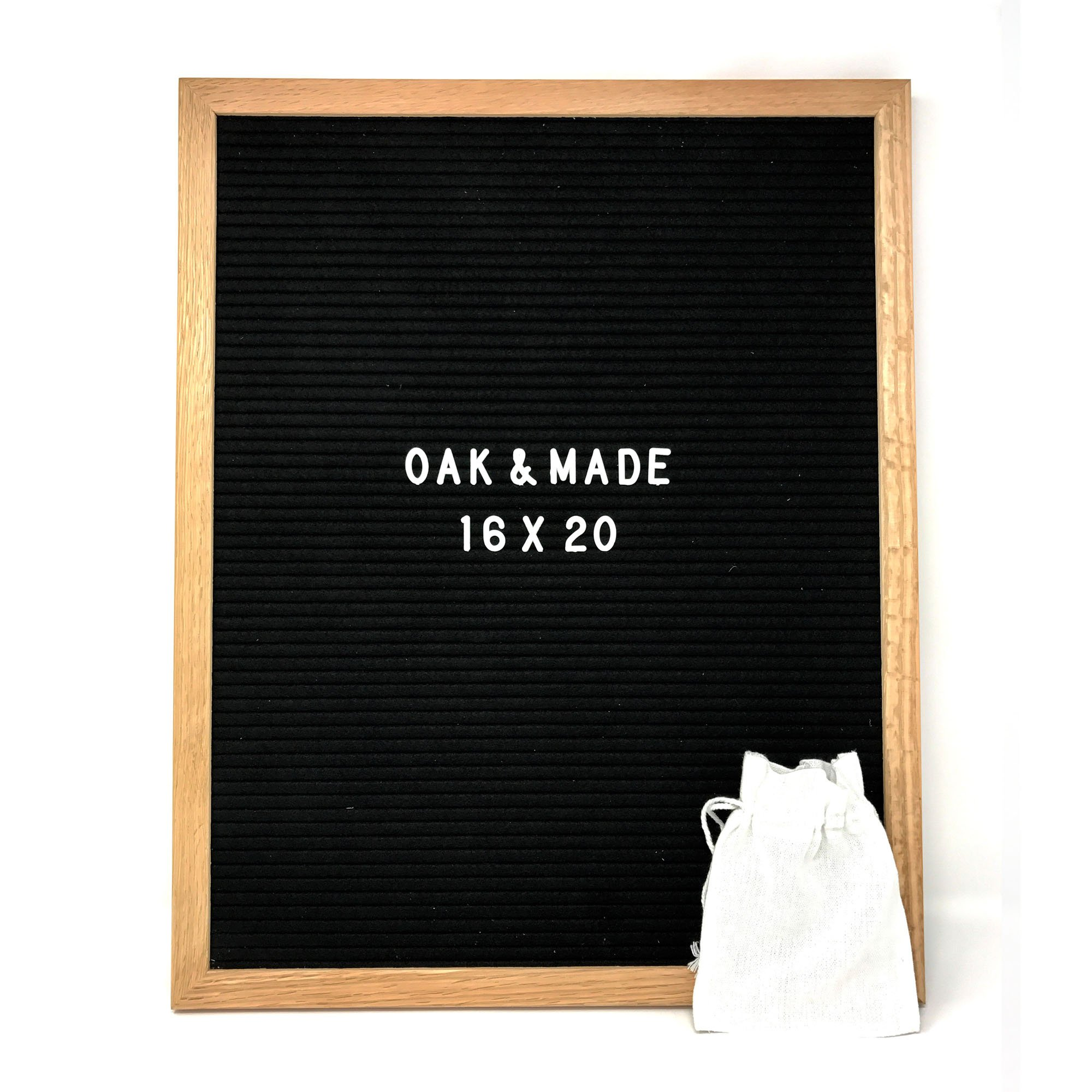 Oak & Made Letter Board, Oak Frame, Black Felt, White Letters, Large (16'' x 20'')