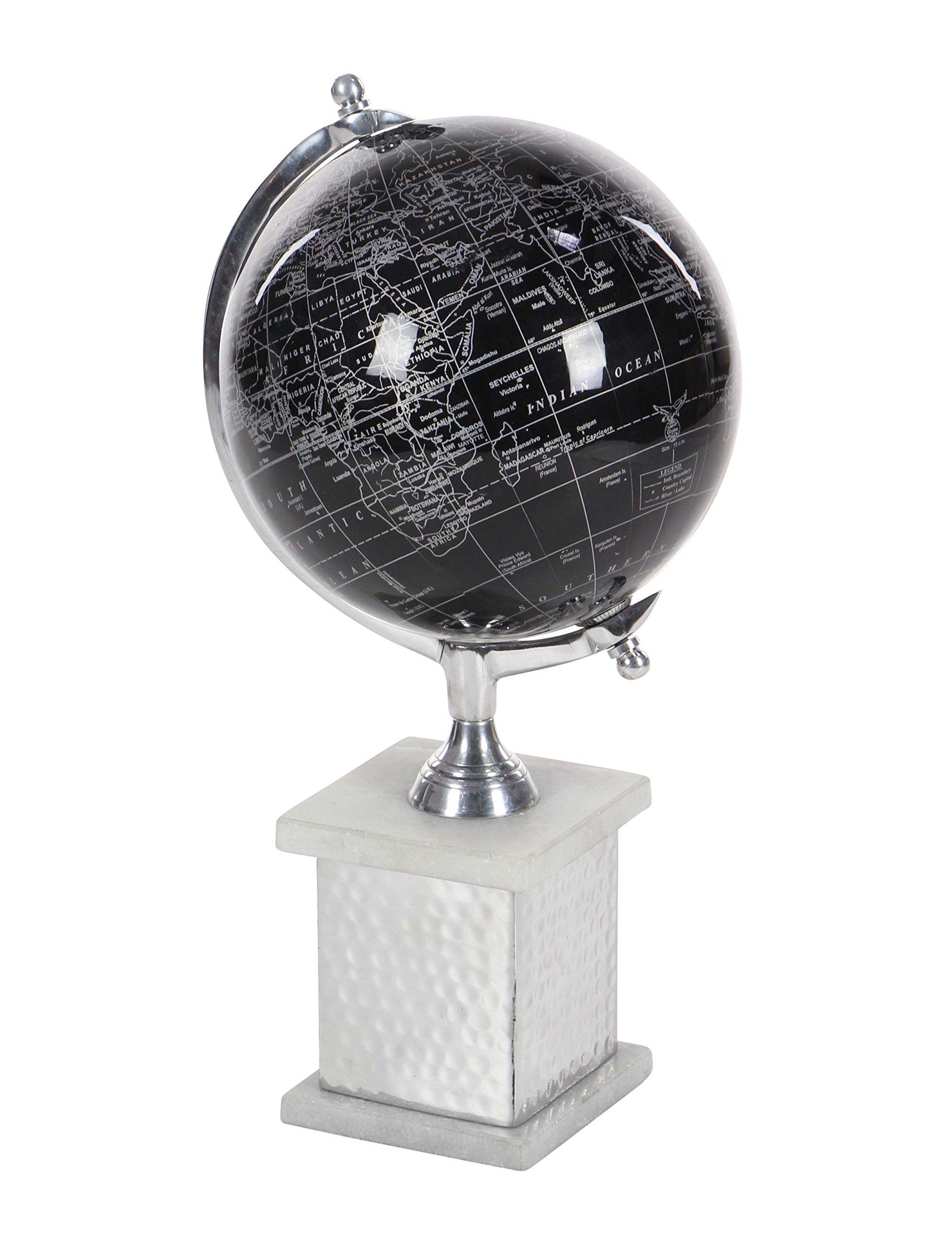 Deco 79 57371 Aluminum, Marble and PVC Decorative Globe, 17'' x 8'', Black/Silver/White