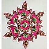 BDS CREATIONS 013 Multi Small Diya Handcrafted Decorative Diwali Rangoli Kundan Decoration/Floor Decoration - 7 Piece Set