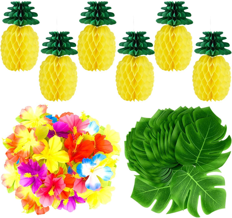 TUPARKA 66 PCS Tropical Luau Party Decoration,Including 6 PCS Tissue Paper Pineapples,30 PCS Tropical Leaves,30 PCS Hibiscus Flowers Hawaiian Luau Party Jungle Beach Theme Table Decorations