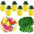 TUPARKA 66 PCS Tropical Luau Party Decoration,Including 6 PCS Tissue Paper Pineapples,30 PCS Tropical Leaves,30 PCS Hibiscus
