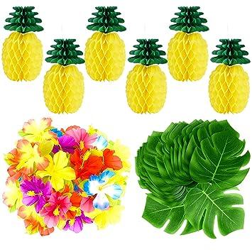 Tuparka 66 Pcs Tropical Luau Party Decoration Including 6 Pcs Tissue Paper Pineapples 30 Pcs