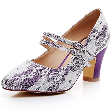 1e38665c5a02 LUXVEER Mary Jane Shoes Thick Heels Lace Wedding Shoes- Kitten Low Heel 2.5  inch-