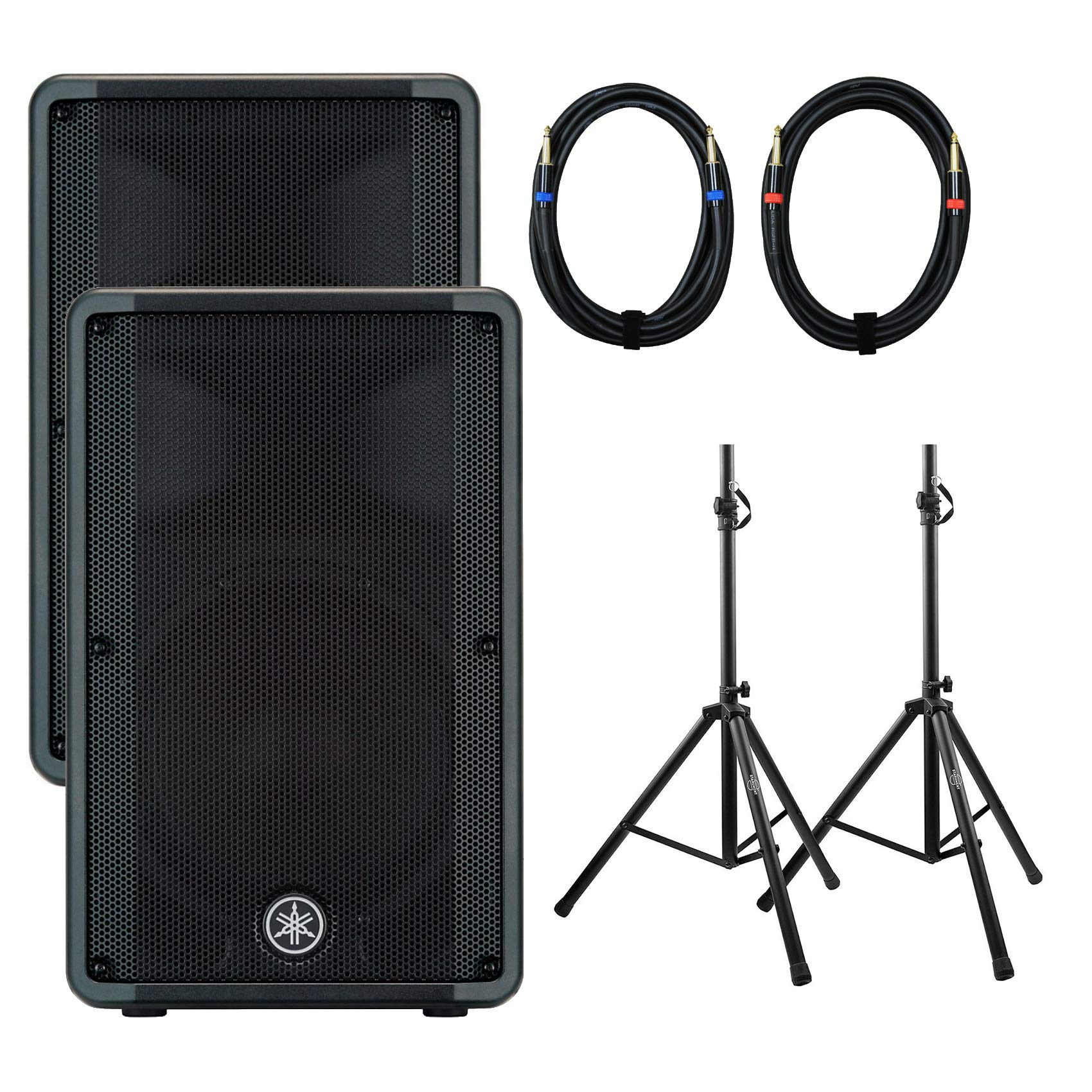 Yamaha CBR12 12'' 2-Way Passive Bass Reflex Speaker (Pair) with Height-Adjustable Tripod Speaker Stands and 2 x 25-Foot Speaker Cables by Yamaha Live Sound