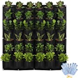 HilarityMax 36 Pocket Vertical Planter with Gloves and Guide for Indoor and Outdoor Gardening, Breathable Felt Grow Bag for H