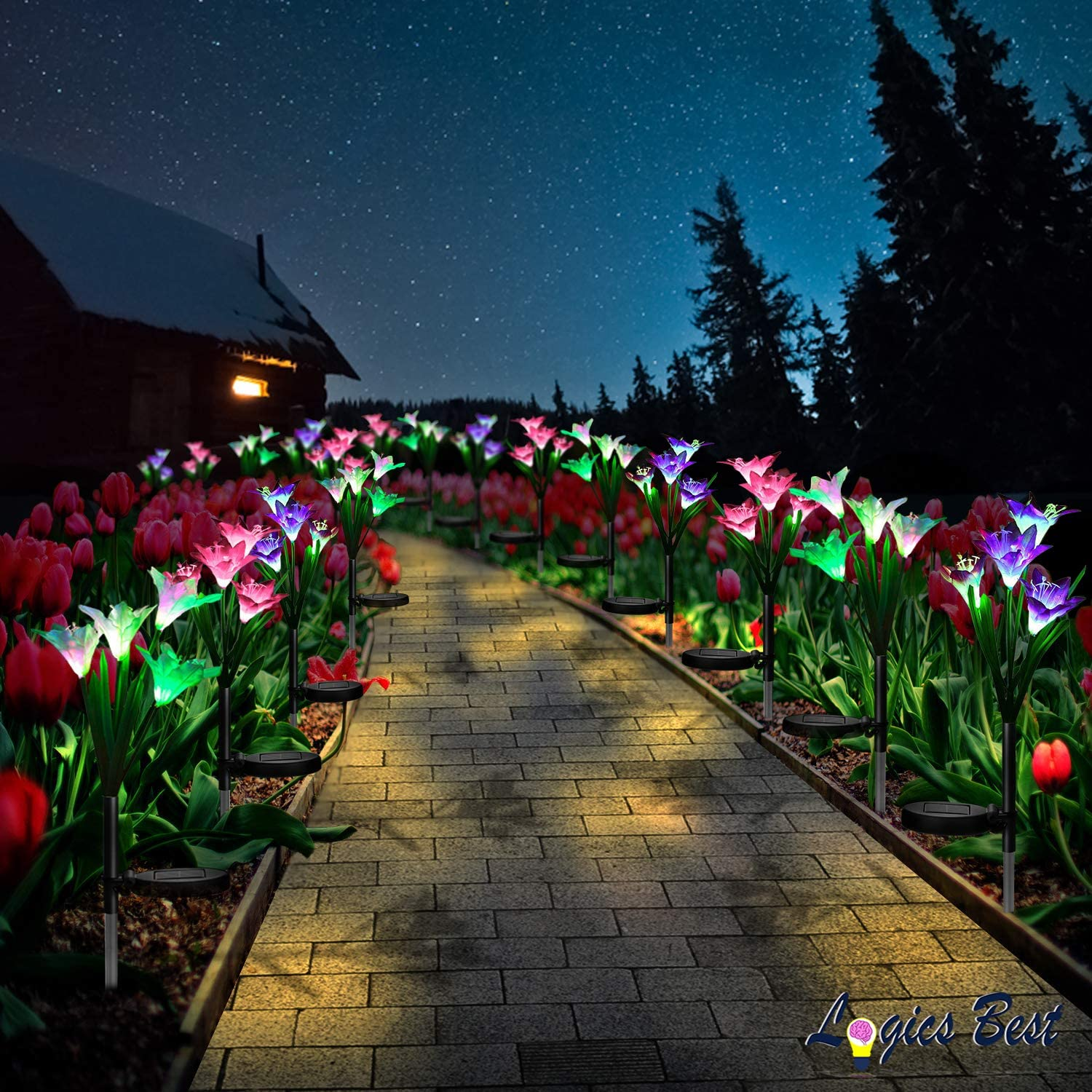 Flower Solar Lights Outdoor Garden Stakes Decorative Outside Garden Lights Lily Solar Garden Stake Lights Waterproof Flowers Decorative Solar Powered Lights With Super Bright Premium Led Bulbs 2 Pack Amazon Com